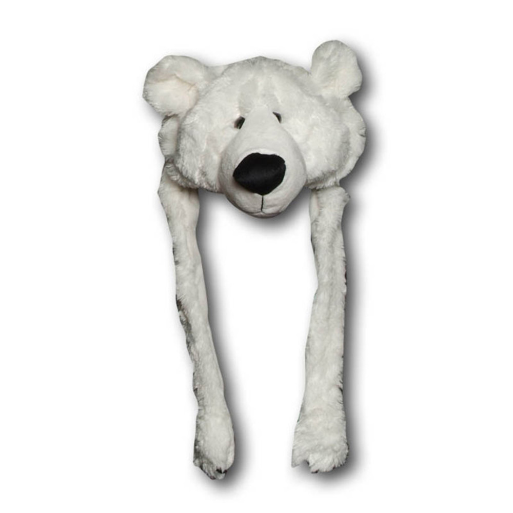 Plush bonnet white bear