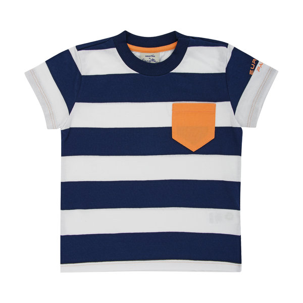 T-Shirt Jungen blau weiß