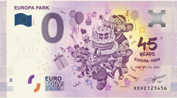 Europa-Park Euro – souvenir banknote 45 Jahre