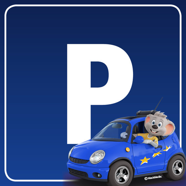 Picture and Logo for parking spot at the visitor parking place