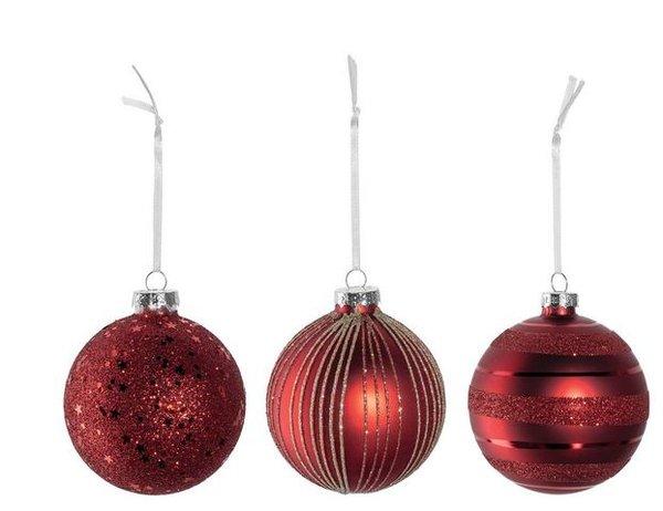 Boules de Noël Lenoardo verre rouge