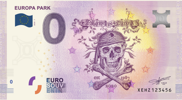 Billet Euro souvenir Europa-Park Piraten in Batavia