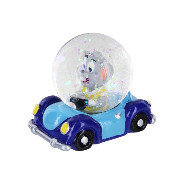 Snow Globe Ed in the Car