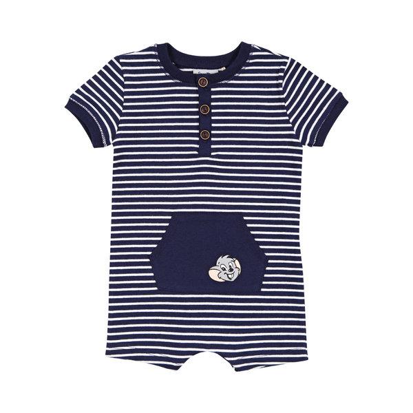Combinaison courte bébé rayée bleu/blanc