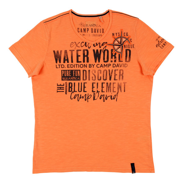 Herren T-Shirt neon orange Camp David Rulantica